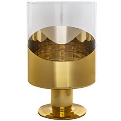 Half Gold Glass Hurricane, 11.25 in.