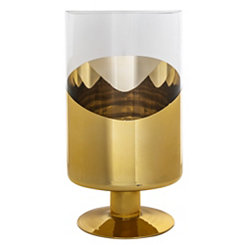 Half Gold Glass Hurricane, 15 in.