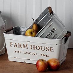 White Farmhouse Rectangular Buckets, Set of 2