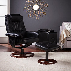 Black Faux Leather Swivel Recliner with Ottoman