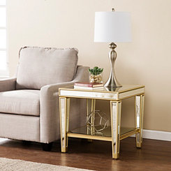Megan Mirrored Metallic Champagne Accent Table