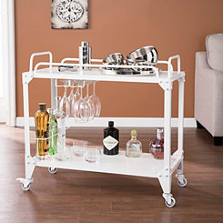 Distressed White Industrial Bar Cart