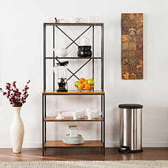 Matte Black and Honey Wood Baker's Rack