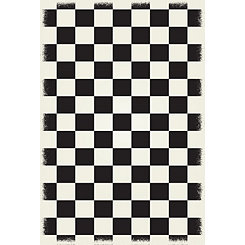 Black Checkerboard Indoor/Outdoor Area Rug, 4x6