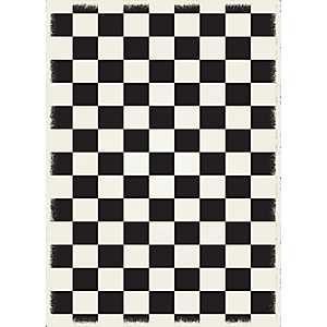 Black Checkerboard Indoor/Outdoor Area Rug, 5x7