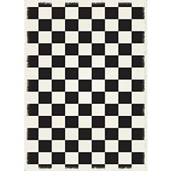 Black Checkerboard Indoor/Outdoor Area Rug, 5x7
