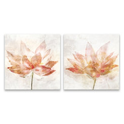 Rosy Flower Canvas Art Prints, Set of 2
