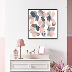 Gray Pink Mist Framed Canvas Art Print