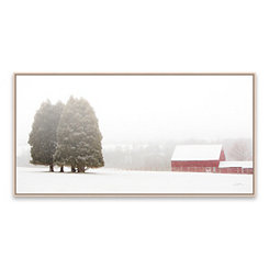 Winter Farm Framed Canvas Art Print