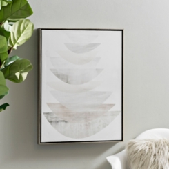 Gray Layer Stack Framed Canvas Art Print