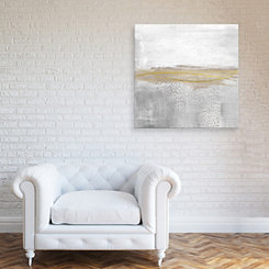 White Gold Embellished Canvas Art Print