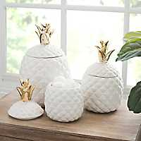 Gold Top Pineapple Canister, Set of 3