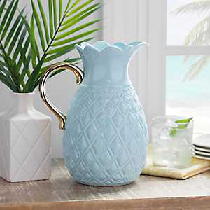 Teal Pineapple and Gold Handle Ceramic Pitcher