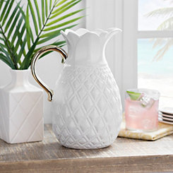 White Pineapple Pitcher with Gold Handle