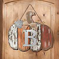 Orange Plank Monogram B Pumpkin Plaque