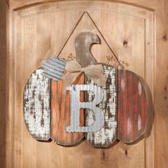 Orange Plank Monogram B Pumpkin Plaque
