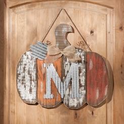 Orange Plank Monogram M Pumpkin Plaque