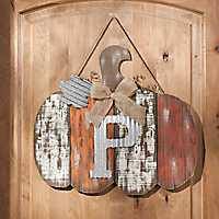 Orange Plank Monogram P Pumpkin Plaque