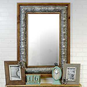 Misty Wood and Metal Wall Mirror