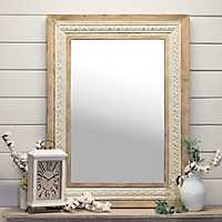 Kenzie Wood and White Metal Wall Mirror