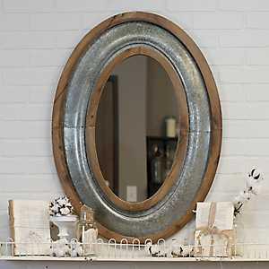 Katherine Wood and Metal Oval Wall Mirror