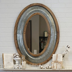 Katherine Wood and Metal Oval Wall Mirror