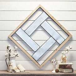 Geometric Metal and Wood Framed Wall Plaque