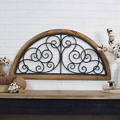 Wood and Metal Scroll Wall Plaque