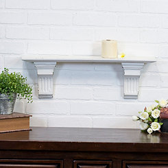 Simple Carved White Wooden Shelf