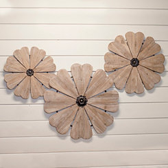 Brown Wood Flower Plaques, Set of 3