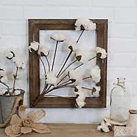 Cotton Bouquet Wood Framed Plaque