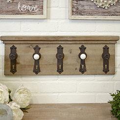 Wood Five Door Knob Hooks Wall Plaque