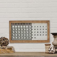 Wood Frame and Metal Slide Calendar