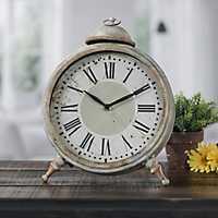 Gray Round Metal Tabletop Clock
