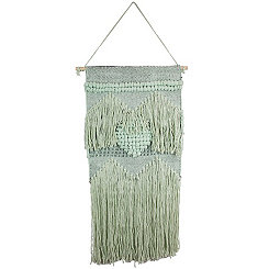Light Green Heart Macrame Wall Hanging
