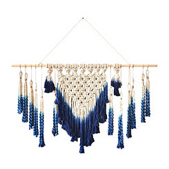 Blue Dipped Macrame Wall Hanging