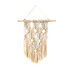 Natural Beaded Macrame Wall Hanging