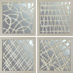 Gray Space Art with Mirror Shadowboxes, Set of 4