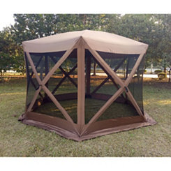 Brown Pop-Up Gazebo with Screens, 12x12 ft.