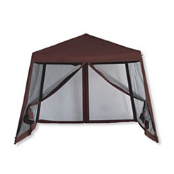 Brown Pop-Up Canopy with Screens, 10x10 ft.