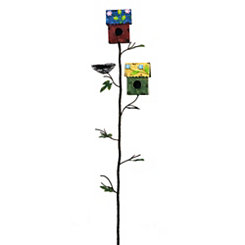 Bird House and Nest Garden Stake