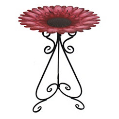 Red Sunflower Metal Bird Bath