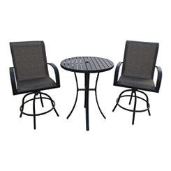 Bar Height 3-Piece Patio Set with Swivel Chairs