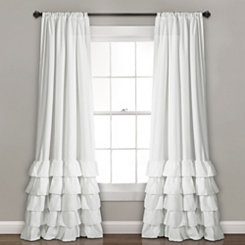 White Allie Ruffle Curtain Panel Set, 84 in.