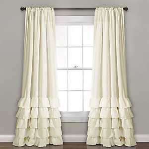 Ivory Allie Ruffle Curtain Panel Set, 84 in.