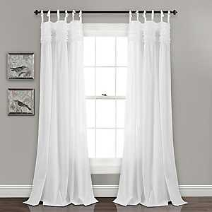 White Linda Ruffle Curtain Panel Set, 84 in.