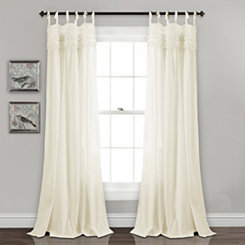 Ivory Linda Ruffle Curtain Panel Set, 84 in.