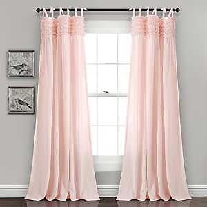 Blush Linda Ruffle Curtain Panel Set, 84 in.
