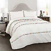 White Boho Tassel 3-pc. Full/Queen Comforter Set