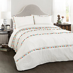 White Boho Tassel 3-pc. Full/Queen Comforter Set